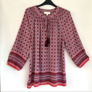 Anthro Lucy & Laurel Smocked Red Boho Peasant Top